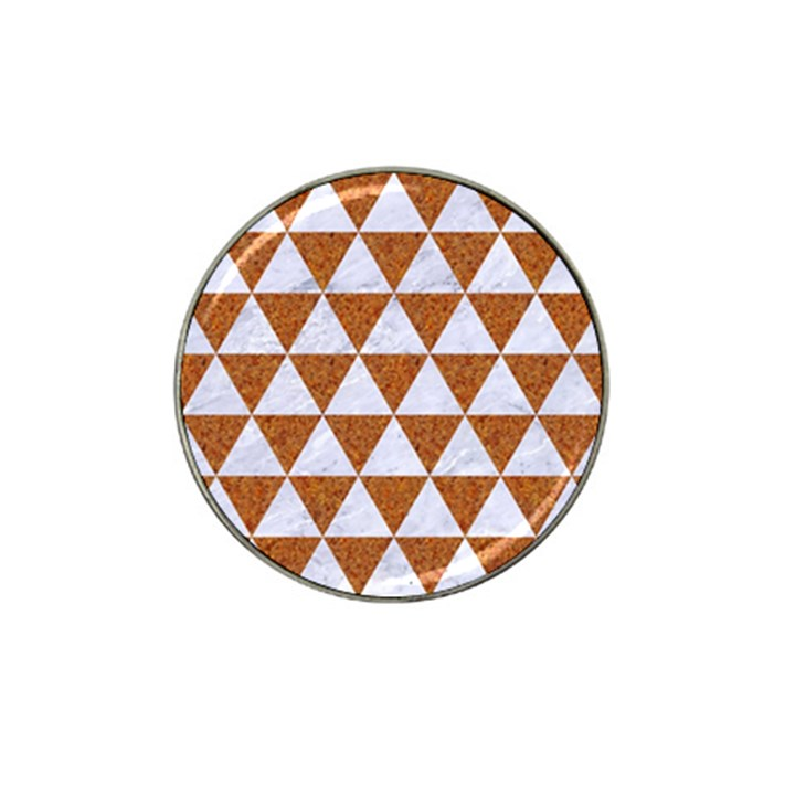TRIANGLE3 WHITE MARBLE & RUSTED METAL Hat Clip Ball Marker (4 pack)