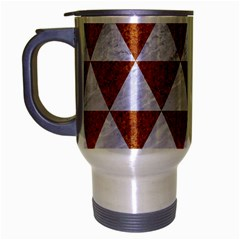 Triangle3 White Marble & Rusted Metal Travel Mug (silver Gray)