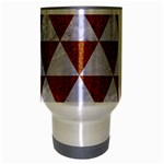 TRIANGLE3 WHITE MARBLE & RUSTED METAL Travel Mug (Silver Gray) Center