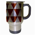 TRIANGLE3 WHITE MARBLE & RUSTED METAL Travel Mug (Silver Gray) Right