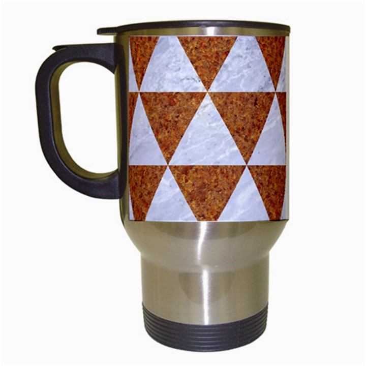 TRIANGLE3 WHITE MARBLE & RUSTED METAL Travel Mugs (White)