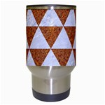 TRIANGLE3 WHITE MARBLE & RUSTED METAL Travel Mugs (White) Center