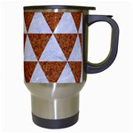 TRIANGLE3 WHITE MARBLE & RUSTED METAL Travel Mugs (White) Right