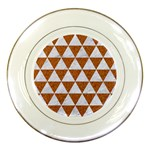 TRIANGLE3 WHITE MARBLE & RUSTED METAL Porcelain Plates Front