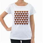 TRIANGLE3 WHITE MARBLE & RUSTED METAL Women s Loose-Fit T-Shirt (White) Front