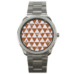 TRIANGLE3 WHITE MARBLE & RUSTED METAL Sport Metal Watch Front