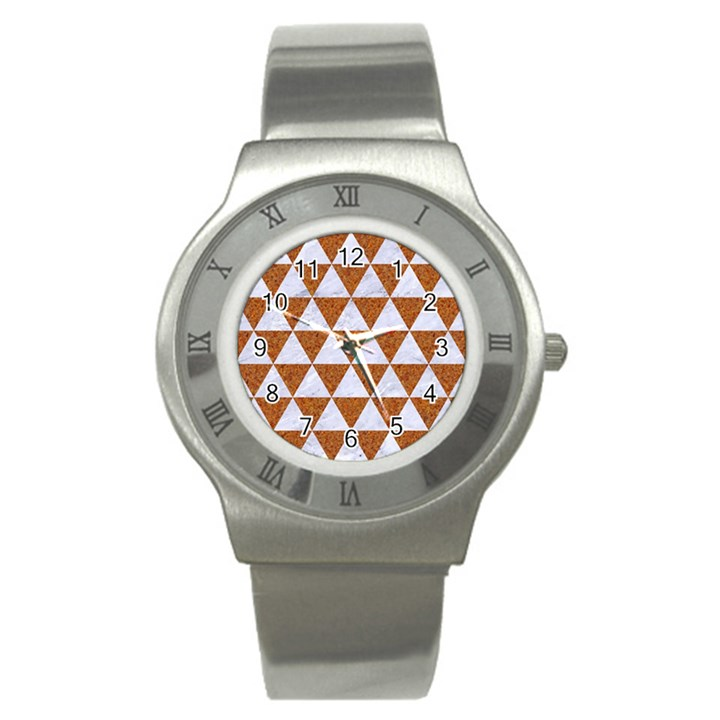 TRIANGLE3 WHITE MARBLE & RUSTED METAL Stainless Steel Watch