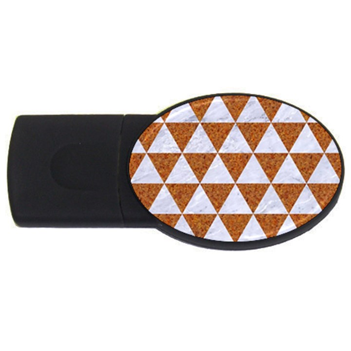 TRIANGLE3 WHITE MARBLE & RUSTED METAL USB Flash Drive Oval (4 GB)