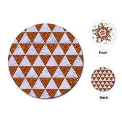 Triangle3 White Marble & Rusted Metal Playing Cards (round)