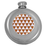 TRIANGLE3 WHITE MARBLE & RUSTED METAL Round Hip Flask (5 oz) Front