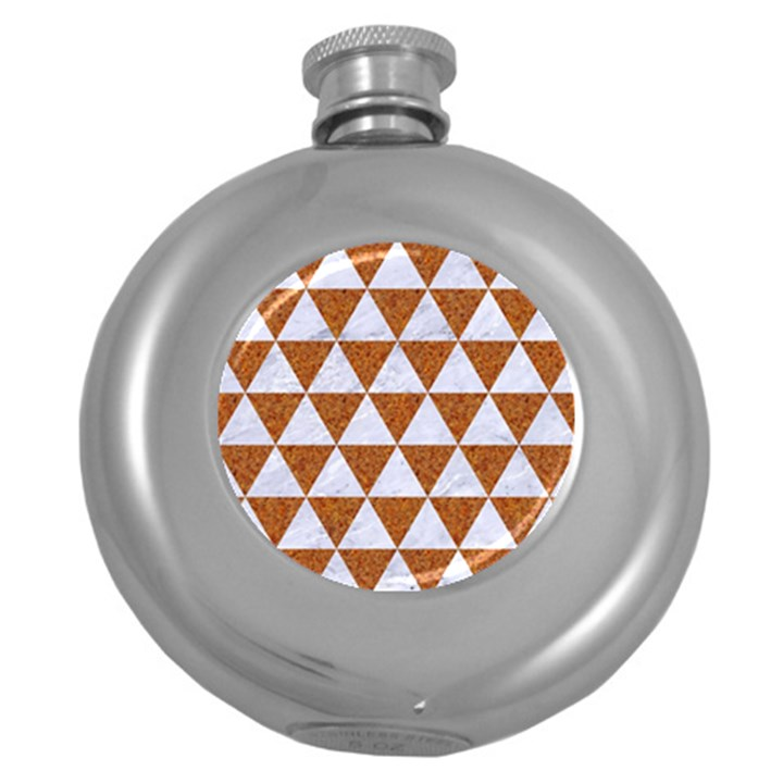 TRIANGLE3 WHITE MARBLE & RUSTED METAL Round Hip Flask (5 oz)