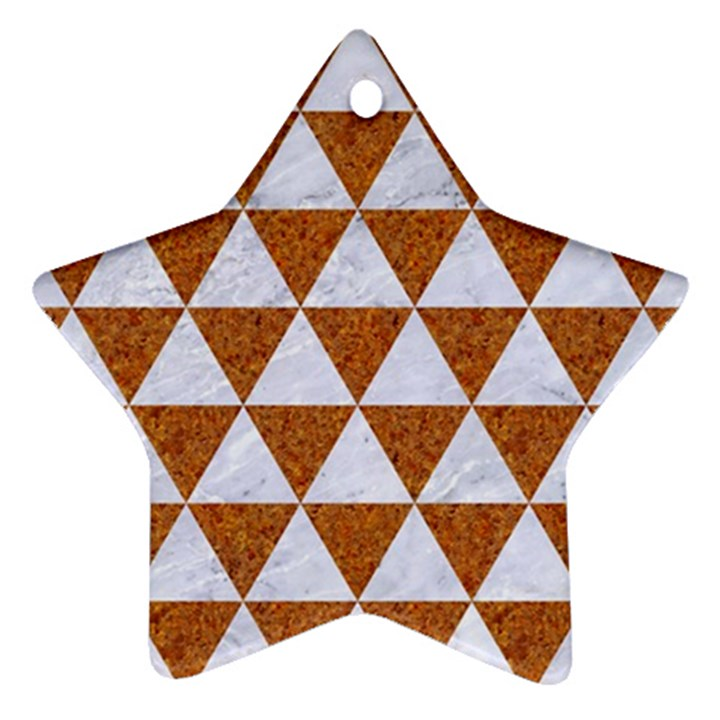 TRIANGLE3 WHITE MARBLE & RUSTED METAL Star Ornament (Two Sides)