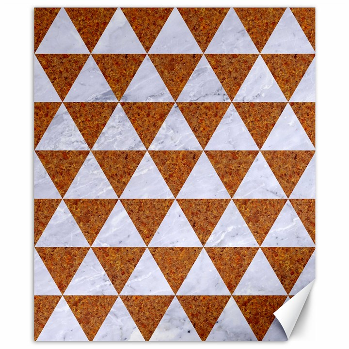 TRIANGLE3 WHITE MARBLE & RUSTED METAL Canvas 8  x 10