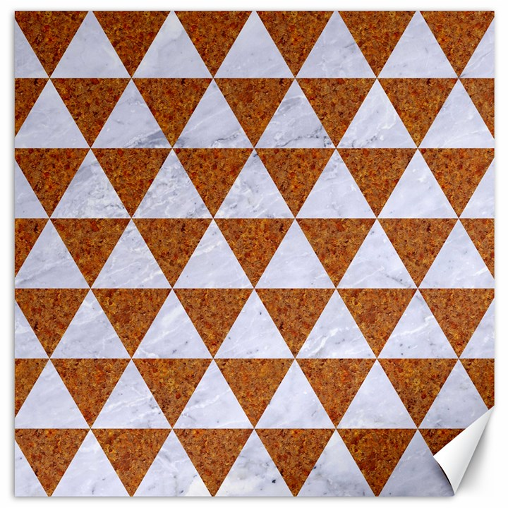 TRIANGLE3 WHITE MARBLE & RUSTED METAL Canvas 20  x 20