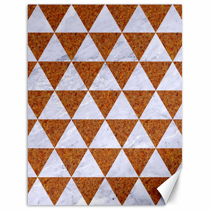 TRIANGLE3 WHITE MARBLE & RUSTED METAL Canvas 18  x 24