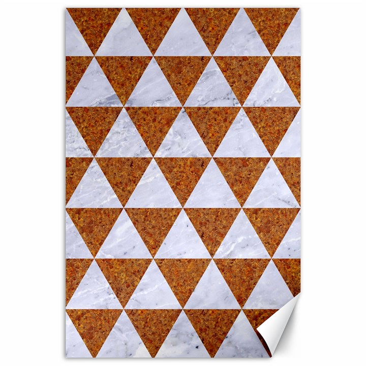 TRIANGLE3 WHITE MARBLE & RUSTED METAL Canvas 24  x 36