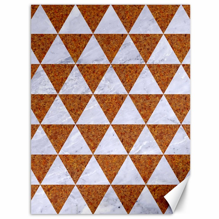 TRIANGLE3 WHITE MARBLE & RUSTED METAL Canvas 36  x 48