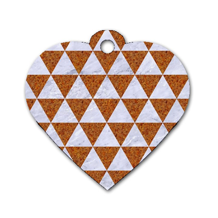 TRIANGLE3 WHITE MARBLE & RUSTED METAL Dog Tag Heart (One Side)