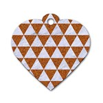 TRIANGLE3 WHITE MARBLE & RUSTED METAL Dog Tag Heart (Two Sides) Back