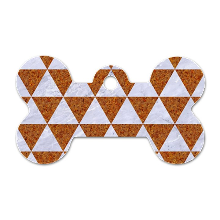 TRIANGLE3 WHITE MARBLE & RUSTED METAL Dog Tag Bone (Two Sides)