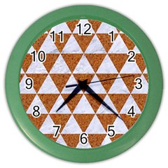 Triangle3 White Marble & Rusted Metal Color Wall Clocks