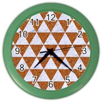 TRIANGLE3 WHITE MARBLE & RUSTED METAL Color Wall Clocks Front