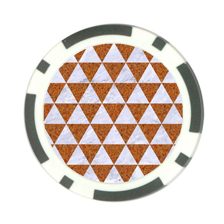 TRIANGLE3 WHITE MARBLE & RUSTED METAL Poker Chip Card Guard