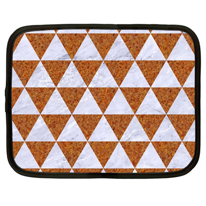 TRIANGLE3 WHITE MARBLE & RUSTED METAL Netbook Case (Large)