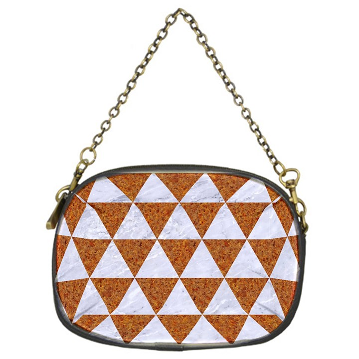 TRIANGLE3 WHITE MARBLE & RUSTED METAL Chain Purses (One Side)