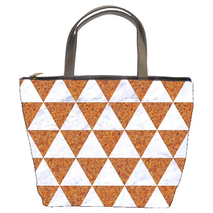 TRIANGLE3 WHITE MARBLE & RUSTED METAL Bucket Bags