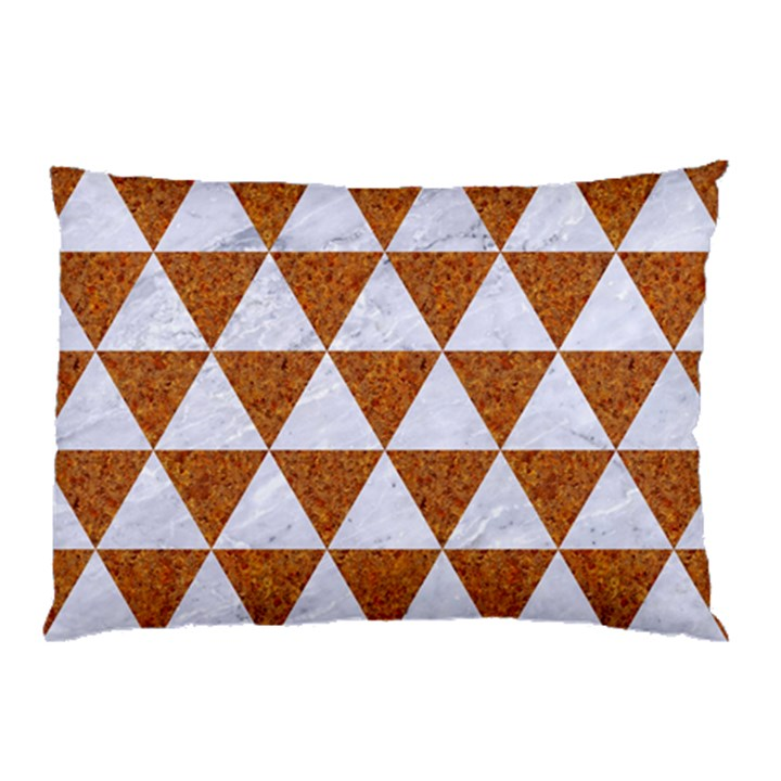 TRIANGLE3 WHITE MARBLE & RUSTED METAL Pillow Case