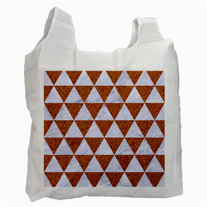 TRIANGLE3 WHITE MARBLE & RUSTED METAL Recycle Bag (Two Side)