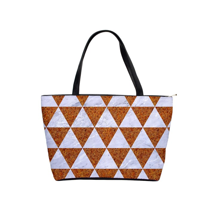 TRIANGLE3 WHITE MARBLE & RUSTED METAL Shoulder Handbags