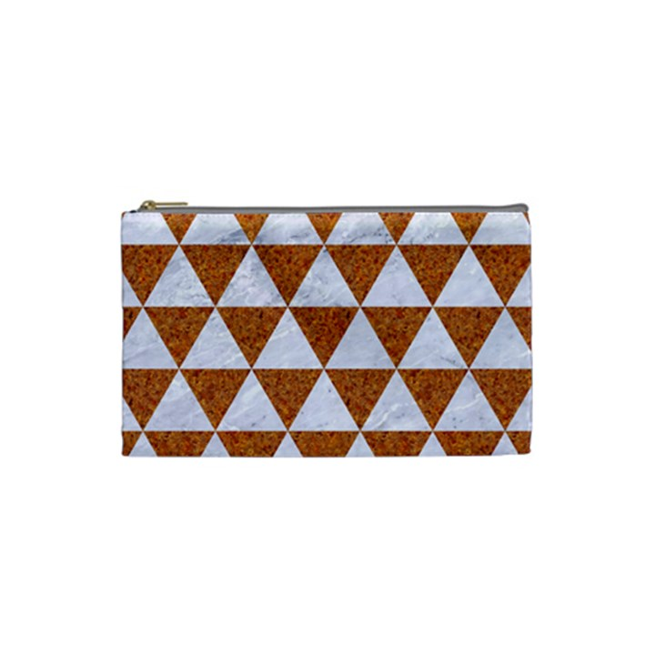 TRIANGLE3 WHITE MARBLE & RUSTED METAL Cosmetic Bag (Small)
