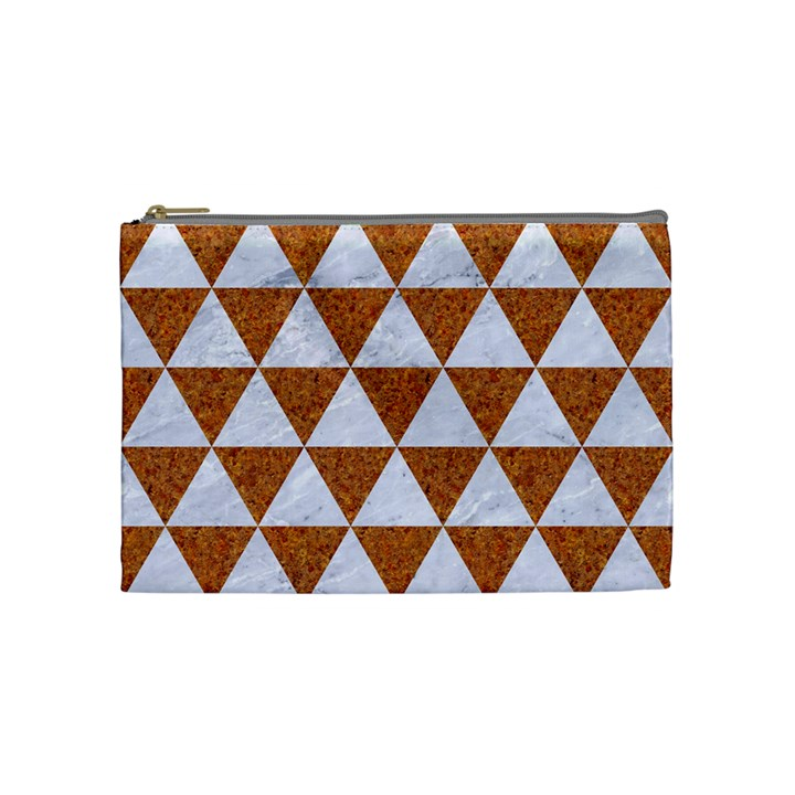 TRIANGLE3 WHITE MARBLE & RUSTED METAL Cosmetic Bag (Medium)