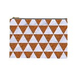 TRIANGLE3 WHITE MARBLE & RUSTED METAL Cosmetic Bag (Large)  Front