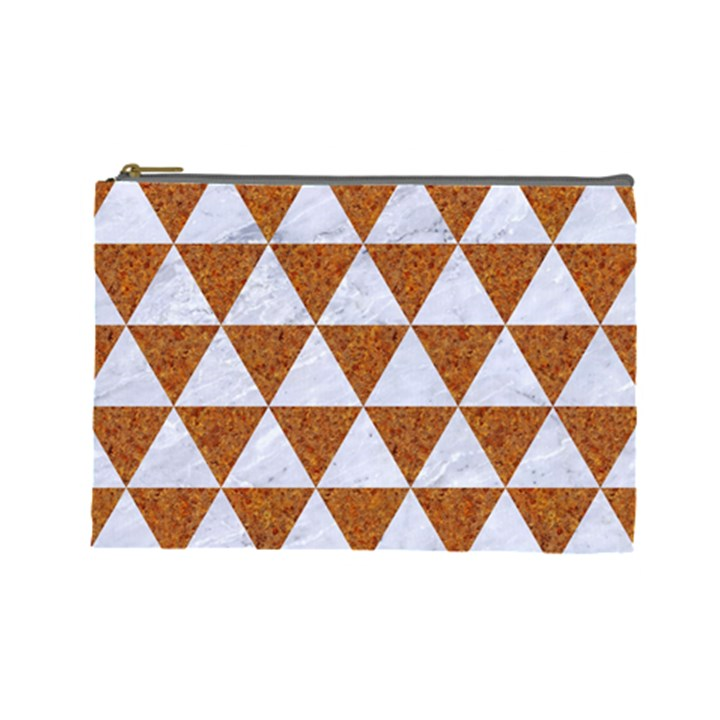 TRIANGLE3 WHITE MARBLE & RUSTED METAL Cosmetic Bag (Large)