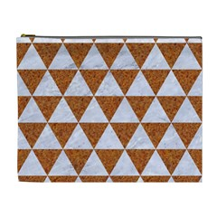Triangle3 White Marble & Rusted Metal Cosmetic Bag (xl)