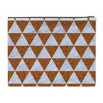 TRIANGLE3 WHITE MARBLE & RUSTED METAL Cosmetic Bag (XL) Back