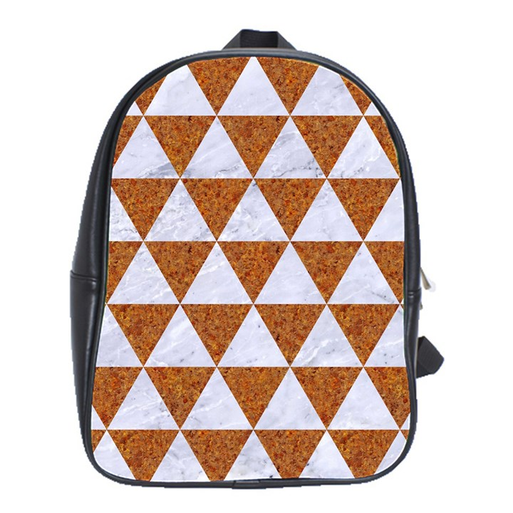 TRIANGLE3 WHITE MARBLE & RUSTED METAL School Bag (Large)