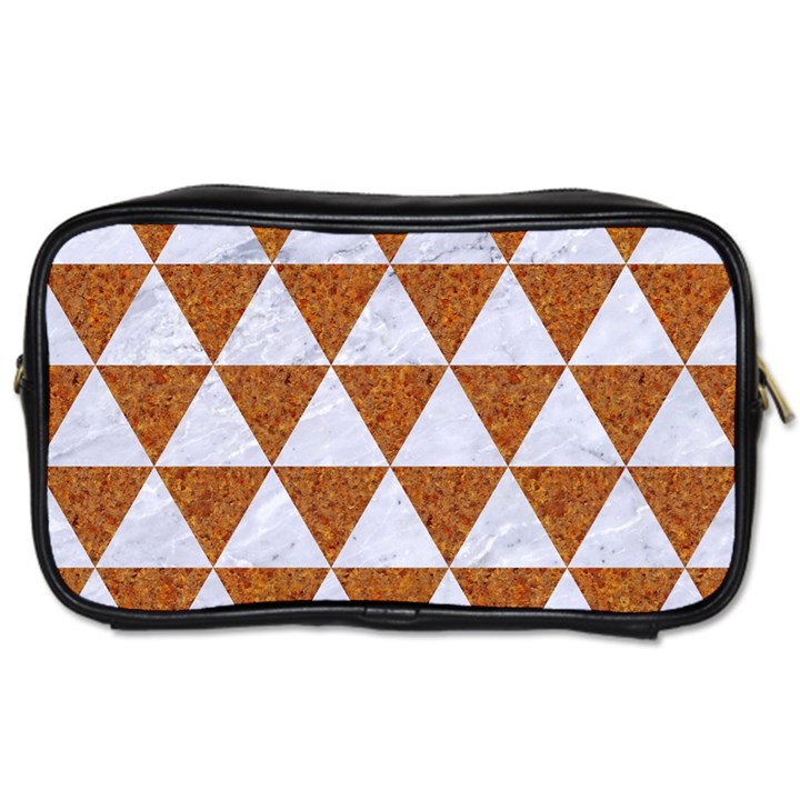 TRIANGLE3 WHITE MARBLE & RUSTED METAL Toiletries Bags