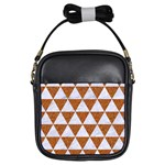 TRIANGLE3 WHITE MARBLE & RUSTED METAL Girls Sling Bags Front