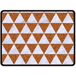 TRIANGLE3 WHITE MARBLE & RUSTED METAL Fleece Blanket (Large)  80 x60 Blanket Front