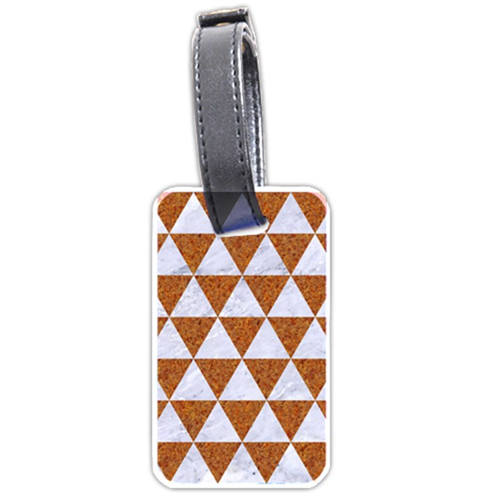 TRIANGLE3 WHITE MARBLE & RUSTED METAL Luggage Tags (Two Sides)