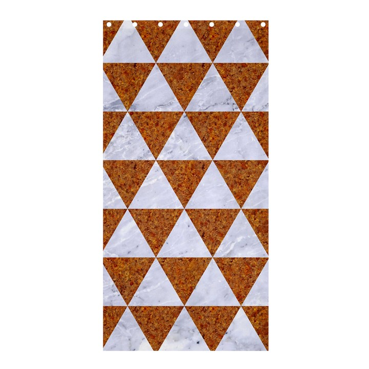 TRIANGLE3 WHITE MARBLE & RUSTED METAL Shower Curtain 36  x 72  (Stall)