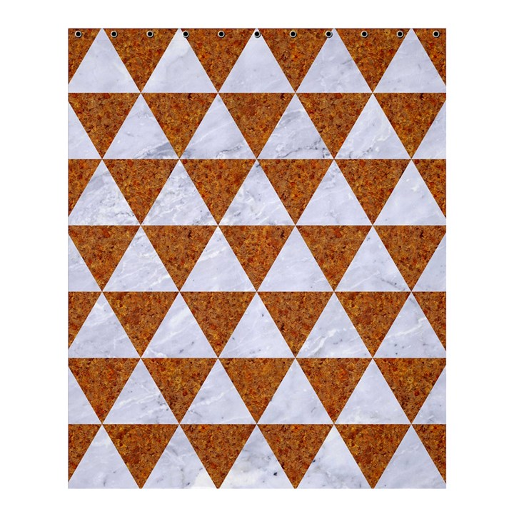 TRIANGLE3 WHITE MARBLE & RUSTED METAL Shower Curtain 60  x 72  (Medium)