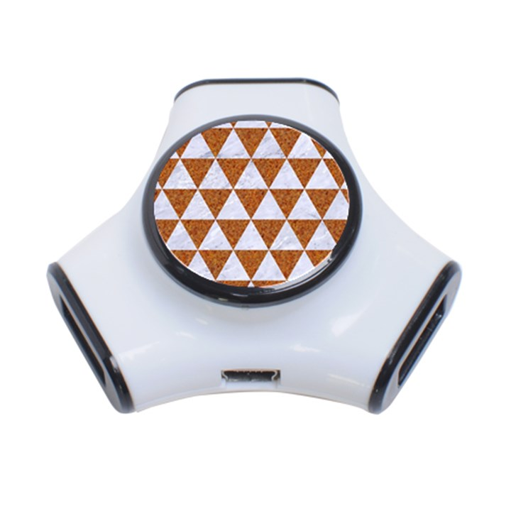 TRIANGLE3 WHITE MARBLE & RUSTED METAL 3-Port USB Hub