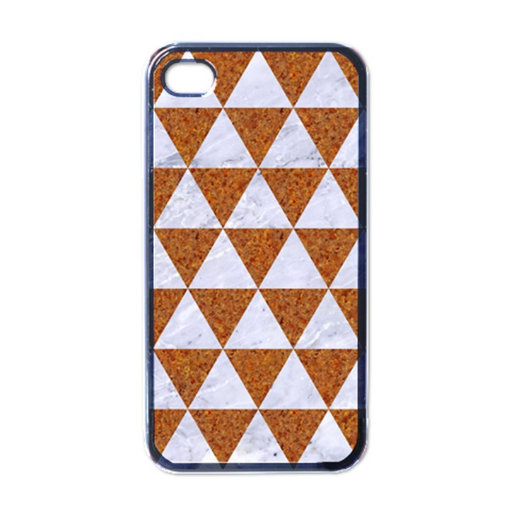 TRIANGLE3 WHITE MARBLE & RUSTED METAL Apple iPhone 4 Case (Black)