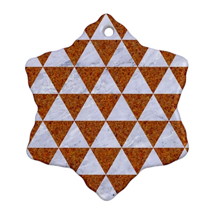 TRIANGLE3 WHITE MARBLE & RUSTED METAL Ornament (Snowflake)