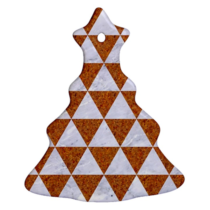 TRIANGLE3 WHITE MARBLE & RUSTED METAL Ornament (Christmas Tree)